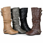 Journee Collection Womens Regular Sized Buckle Slouch Low Wedge Riding Boots
