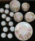 BAVARIA THOMAS SIGNED SET DISHES PLATES SAUCERS SELB CUPS FLORAL PORCELAIN CHINA