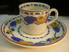 WEDGEWOOD Imperial Ivory-4 Demitasse Cups and 3 Saucers - Blue & Orange