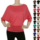 IRON PUPPY Womens 3 4Slv BoatNeck DOLMAN Batwing Top Knit Loose Blouse Shirts