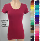 ZENANA 3007 Fitted Tee T shirt SCOOP Neck Cotton Spandex Short Sleeves