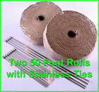 TAN EXHAUST PIPE HEAT HEADER WRAP TAPE  STAINLESS TIES 1 16x2x 50 FT 2 ROLLS