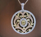 YELLOW AND WHITE DIAMONDS SET IN 18K MAGICAL ORNATE OPENWORK PENDANT! GORGEOUS!!