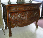 Antique Style Country French Serpentine Hand Carved Mahogany Wood Console Chest