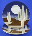 Fitz & Floyd LA MESA Salad Dessert Plates SET OF 2 Cactus Moon Blue Brown