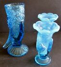 3 Vintage Hand Vases Pair Fenton 35 Opalescent 1 G Duncan Daisy Square 5