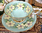 ROYAL STAFFORD TEA CUP AND SAUCER LIME TEACUP YELLOW DOGWOOD FLORAL PATTERN