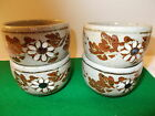 4 Vintage Pottery Small Bowls with Pretty Flowered Design
