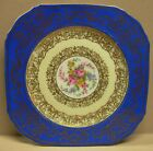 PULS Czechoslovakia Floral Gold Filigree Blue Porcelain Square Salad Plate 7498