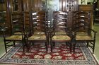 Set of 12 ANTIQUE STYLE COUNTRY FRENCH LADDERBACK DINING ARM CHAIRS RUSH SEATS