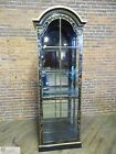 Drexel Heritage Black Lacquered Chinoiserie Decorated Lighted Curio Cabinet