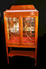 REGENCY Style Curio Display Cabinet Circa 1900s Mahogany Inlay