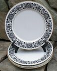 Vtg 4Pc Set ROSE CHINA Dinner Plate Strathmore 3902 Pattern Japan Black Flower
