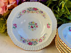6 Beautiful Vintage Czech Porcelain Dessert Bowls ~ Roses ~ Ribbons ~ Gold