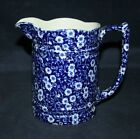 BEST! STAFFORDSHIRE BURLEIGH BLUE & WHITE CALICO WATER PITCHER