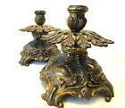 Vintage Art Nouveau/Victorian Style Footed Ornate Cast Metal Candle Holders (2)