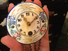 ANTIQUE MINIATURE KEY WIND WALL CLOCK GERMANY PORCELAIN FLORAL PAINTED DIAL