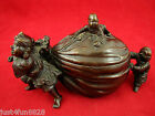 Antique Japanese Bronze Incense Burner of Three Boys Pulling  Fortune Bag
