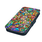 Stained Glass Printed Faux Leather Flip Phone Cover Case Disney Inspired Style