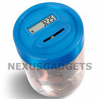 Coin Counting MONEY JAR Cup Digital LCD Automatic Counter Piggy Bank Change BLUE