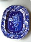 ANTIQUE DARK BLUE TRANSFER STAFFORDSHIRE PLATTER - STILL LIFE FRUIT