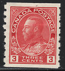 Canada 3c KGV Admiral Coil, Scott 130, VF MHR, catalogue - $100