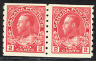 Canada 2c KGV Admiral Coil Pair, Scott 127, F-VF MLH, catalogue - $75