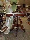 Victorian Revival Walnut/Burl OVAL Marble Top Parlor GWTW Banquet Lamp Table 1