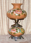 VTG HAND PAINTED CARMEL  YELLOW ROSES GWTW 3 WAY ELECTRIC LIGHT LAMP NICE COND
