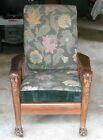 Antique Victorian Ghost Lions Head Morris Chair - Oak