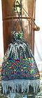 60s Does 20s Colorful Plastic Beaded Fringe Drawstring Purse