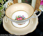 FOLEY TEA CUP AND SAUCER BEIGE & FLORAL PATTERN CUP & SAUCER TEACUP