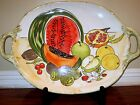 LARGE SERVING PLATTER TRAY HANDLES HAND PAINTED ITALIAN CERAMIC POTTERY