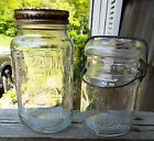 ~~ LOT OF 2 VINTAGE CANNING JARS (ATLAS MASON & BALL IDEAL) & 7 KERR LIDS ~~