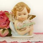 PINK Roses ANGEL BUST Cupid FIGURINE Porcelain Bisque 4 3/4
