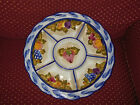 RARE Peint a la main FRANCE HAND PAINTED LARGE DIVIDED SERVING PLATTER PLATE