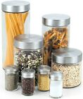 Glass Canister & Spice Jars Set 8 Pc. Stainless Steel Lids Kitchen Pasta Storage