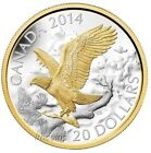 2014 - Perched Bald Eagle 1 oz. Fine Silver Coin Gold-Plated Coin
