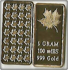 5gram Gold Maple Leaf Bar, Mirror Finish, Front 1 Large Leaf, Bac