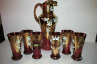 EGERMANN CZECH REPUBLIC-BOHEMIA HANDMADE CRYSTAL PITCHER AND GLASSES-24K GOLD
