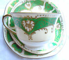 Royal Epiag Czechoslovakia Art Deco china green & gold cup saucer side plate tri