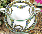 WORCESTER TEA CUP AND SAUCER PAINTED ROSE GARLAND TEACUP CREAM SOUP BOWL