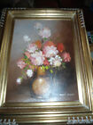 Stunning Vintage Original Robert Cox Oil Painting CANVAS ROSES Flowers Floral