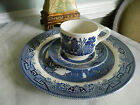 Churchill Blue Willow Trio Dinner Plate with Cup & Saucer Set England Retired