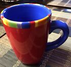 Dansk Caribe Antigua Stripe 1 One Mug Cups Red Blue Hand Painted