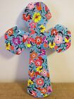 Hand Carved & Painted Alebrije Wooden Cross Blue With Flowers ~ Oaxaca, Mexico