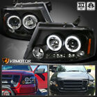 2004-2008 Ford F150 LED Halo Projector Headlights Black Pair Left+Right