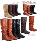 Soda Womens Flat Heel Slouchy Mid Calf Knee High Boot Shoes Size 55 11 NEW