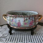 Vintage Oriental Rose Medallion Fish Bowl Planter Bowl Jardinere Basin Foot Bath