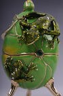 Faberge Frog Egg with frog & pedant by Keren Kopal Swarovski Crystal Jewelry box